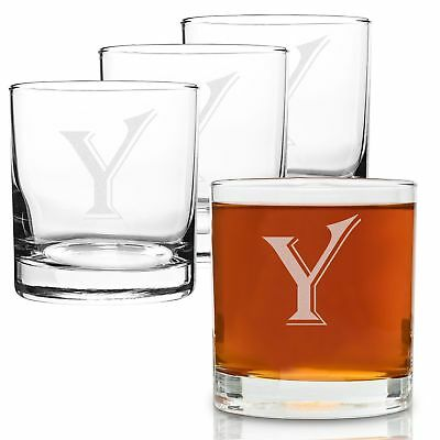 On The Rox 4 Piece Glass Set Engraved with Y-Monogram, 11-Ounce