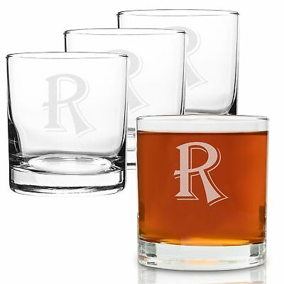 On The Rox 4 Piece Glass Set Engraved with R-Monogram, 11-Ounce