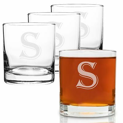 On The Rox 4 Piece Glass Set Engraved with S-Monogram, 11-Ounce