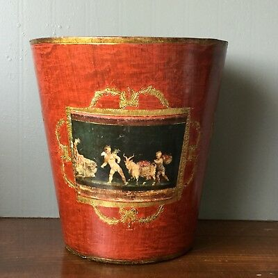 Vtg Florentine Gilt Red Waste Basket Cherubs Putti Italy Hollywood Regency