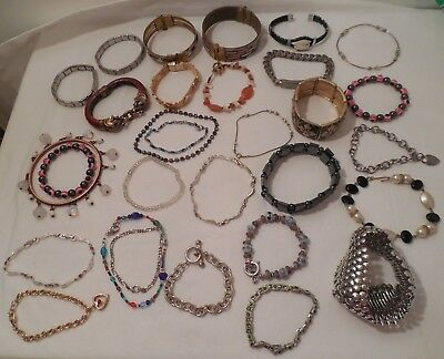 Large Lot of 30 Vtg/Mod Bracelets 2 Magnetic 2 India Brass 1 Chicos Glass Beads