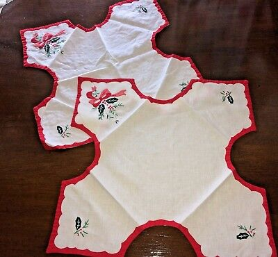 Vtg Christmas Cloth Bread Cover Applique Embroidery Red White LOT of 2