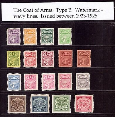 """Lettland Sammlung Staatswappen Coat of Arms """"Linien"""" 1923/25 ** MNH / * MH READ!"""