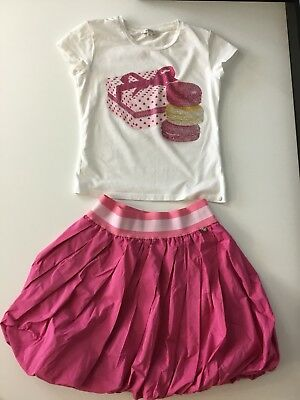 Miss Grant Set 2 Piece Girls Top And Skirt Tutu Short Sleeve Pink Size 36 In Vgc