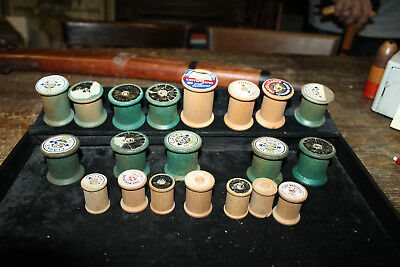 Lot of 20 Antique Vintage WOODEN Thread Spools Mixed Sizes & Brands (e)