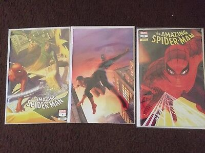 AMAZING SPIDERMAN 1 2018 ALEX ROSS SDCC VIRGIN VARIANT 3 PACK SET NM CGC Ready 2