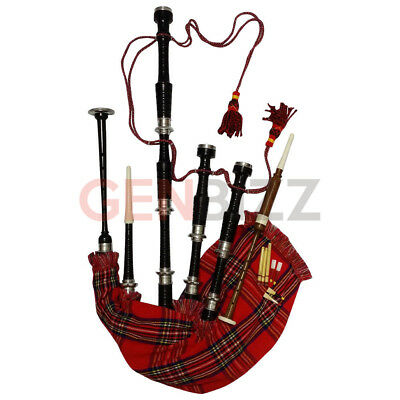 Great Highland Rosewood Bagpipe/Scottish Bagpipe Full Silver Amounts With Case
