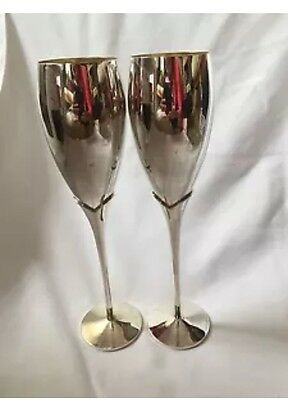 Pair Large Silver Plated Wedding Goblets