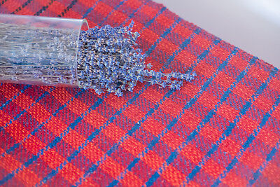 Blue red Fabric Antique wool handwoven