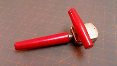 RED Can Opener Edlund Junior No 5 Wood Handle Vintage