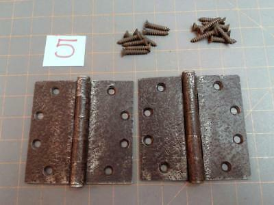 Pair Acorn Warwick Style Butt Hinges Faux Hammered Iron Finish Screws NO. 5 Vtg