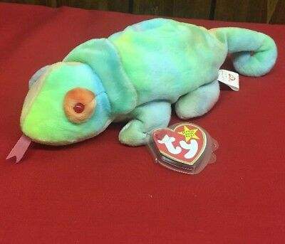 afa194e9443 TY Beanie Baby - RAINBOW the Chameleon-Pristine w Mint Tags-PE Pellets