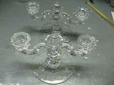 Candles   Holders (2)   Glass   With   Etched    Roses   Very  Beautiful  Set