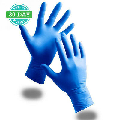 100 Pack Of Strong Powder Free Blue Nitrile Disposable Gloves (Medium) -...