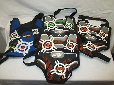 Lot of FOUR NERF Target Practice Adjustable YOUTH Kid's VESTS. Excellent Used.