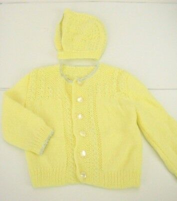 Vtg Crochet Baby/Doll Hat Cardigan SET Yellow 60s 70s Boy Girl Faux Pearl Button