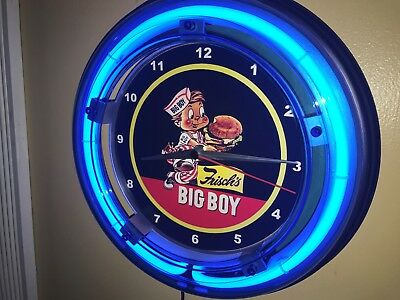 **Frischs Big Boy Diner Kitchen Restaurant Advertising Blue Neon Wall Clock Sign