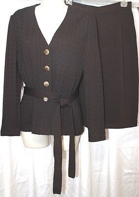St JOHN Collection  by Marie Gray BROWN  Knit SKIRT  SUIT Size 2-4