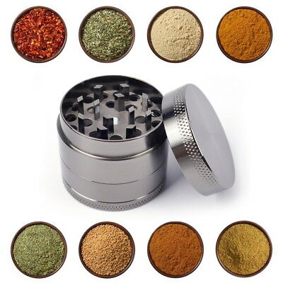 4 Piece Magnetic 2.5 Inch Grey Tobacco Herb Grinder Spice Aluminum With Scoop L
