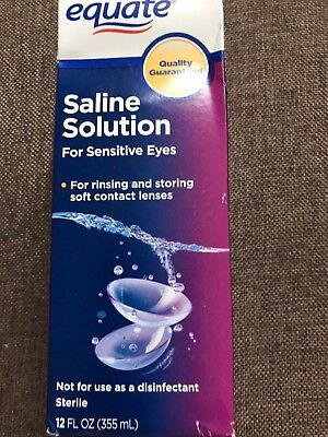 Equate Contact Lens Saline Solution for Sensitive Eyes 12 OZ EXP. 08/2019+