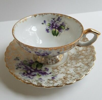 Vtg Napco Violet Gold Tea Cup and Saucer Purple Floral Decor Stippled China