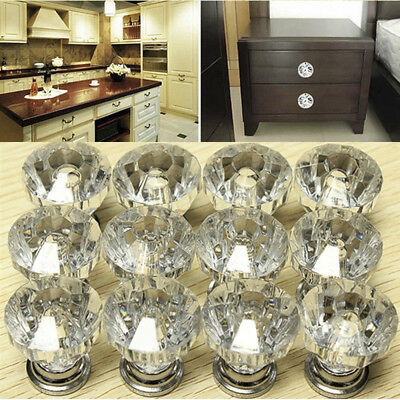 12 Vintage Crystal Clear Glass Door Knobs Pulls Cabinet Antique Furniture Drawer