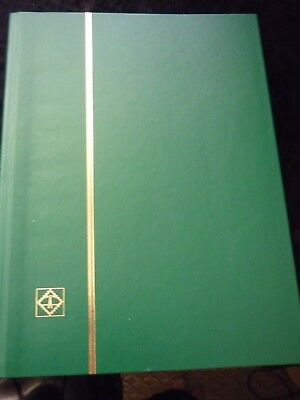 A4 PREMIUM Stockbook with 64 BLACK Pages - Padded Leather Cover LT GREEN used