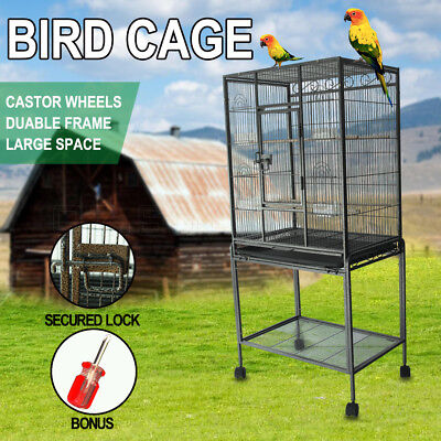 Large Bird Cage Parrot Aviary Pet Protable Budgie Perch Castor Wheels Black