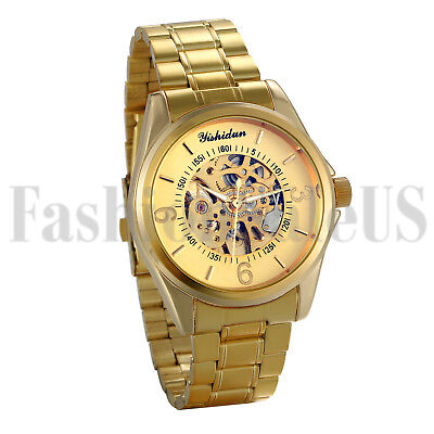 Men's Luxury Gold Tone Skeleton Automatic Mechanical Stainless Sport Wrist Watch