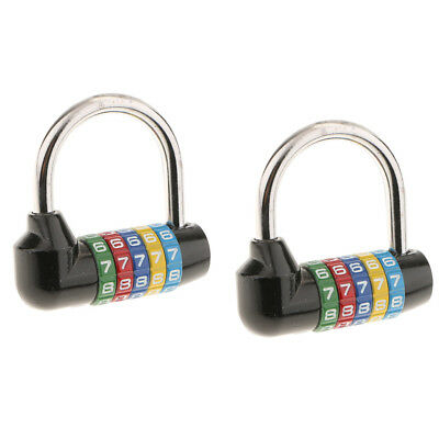 2Pack 5 Digit Dial Letter Combination Padlock Travel Luggage Suitcase Lock