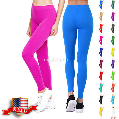Womens Leggings Footless Pants Yoga Skinny Fitness Solid Basic Stretch Athletic