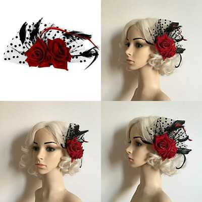 Red ROSE Flower Hair Clip Bridal Barrette For Women PARTY