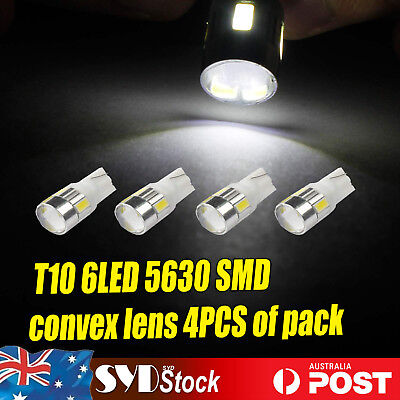 4pcs White Top Convex Lens T10 5630SMD 6Led Wedge Bulbs Led Side Tails Lights