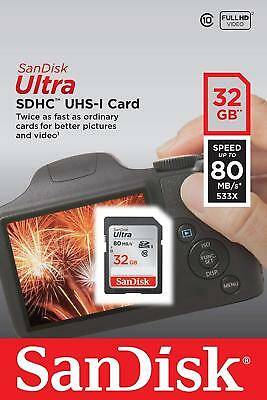 New SanDisk Ultra 32GB SD SDHC Flash Card Class10 80MB/s for Camera
