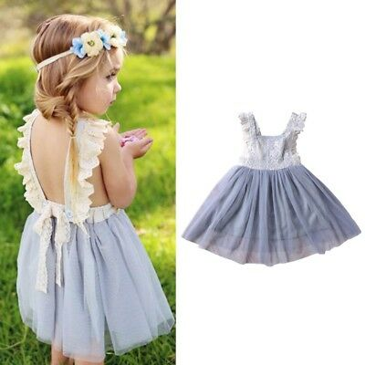 Baby Kids Girl Lace Party Pageant Dress Formal Dresses Tulle Tutu Backless Dress