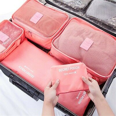 6pcs Packing Cube Pouch Suitcase Clothes Storage Bags Travel Luggage Organizer