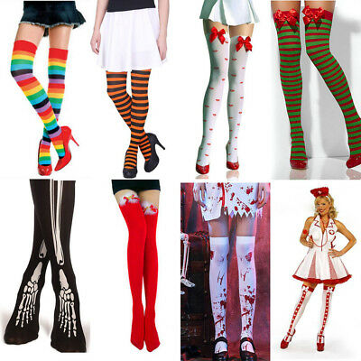 aa7ee9b23a6 8 Types Women Thigh High Stockings Over The Knee Slim Socks Halloween Xmas  Party