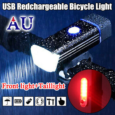Bicycle Lights USB LED Rechargeable Set Mountain Front Back Bike Headlight Cycle