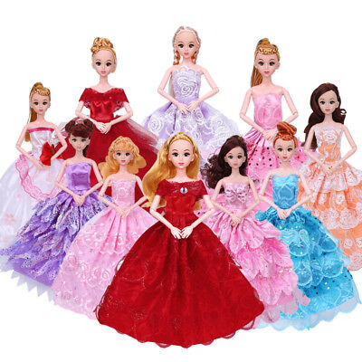 6x Set Handmade Wedding Dress Party Gown Clothes Outfits For Barbie Doll Fashion
