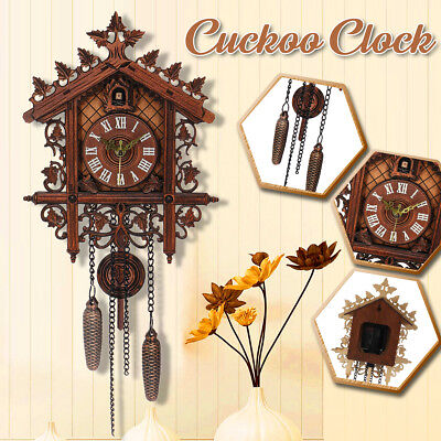 Vintage Handcraft Wood Cuckoo Clock Tree House Swing Wall Clock Art Home Decor