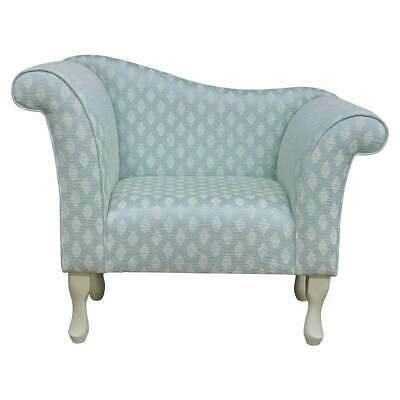 "37"" Small Chaise Longue Lounge Seat Chair Armchair Blue Fabric Queen Anne Legs"