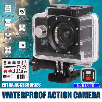 HD 4K 1080p WIFI Waterproof Sports Action Video Camera 170° Degree Diving Mount