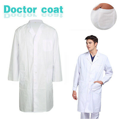 Lab Coat Men Ladies Medical Clinic Healthcare Vet Doctor Long Sleeve Uniform AU
