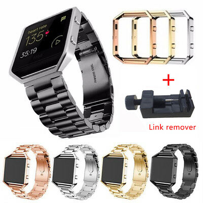 New Stainless Steel Metal Watch Genuine Strap Band + Frame For Fitbit Blaze BBT