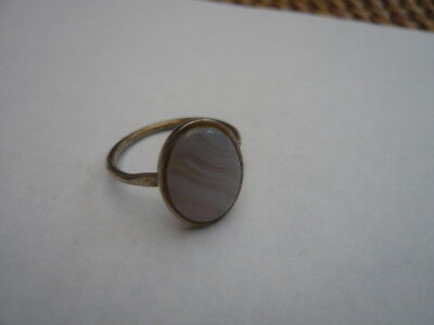 Vintage Heavy Sterling Silver Ladies Ring Large Moon Pearlised Stone Size P