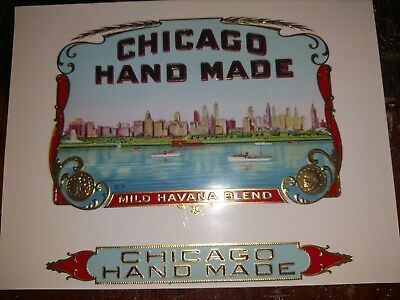 CHICAGO HANDMADE CIGAR Box Label INNER Original c1930's  Lakeshore Blvd. Skyline