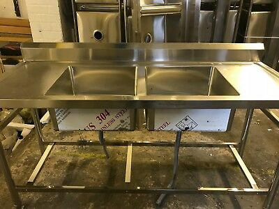 Commercial Catering Kitchen Stainless steel Double bowl sink Double Drainer 1800