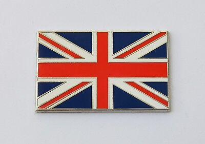 Enamel & Chrome Self Adhesive Union Jack Classic Car, GB Flag Badge