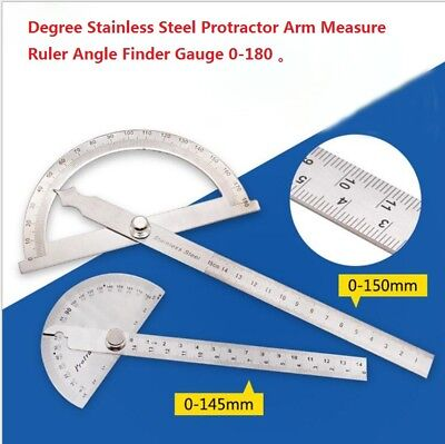 Degree Stainless Steel Protractor Arm Measure Ruler Angle Finder Gauge 0-180°