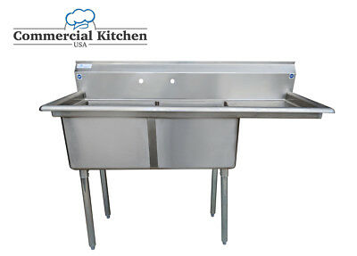 "Stainless Steel 2 Compartment Sink 56.5""X24"" w Right Drainboard NSF Certified"